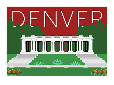Digital Art - Denver Cheesman Park/maroon by Sam Brennan