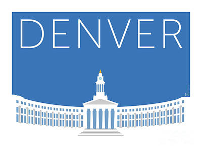 Digital Art - Denver City And County Bldg/blue by Sam Brennan