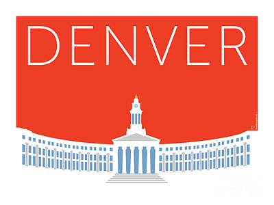 Digital Art - Denver City And County Bldg/orange by Sam Brennan