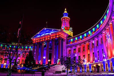 Photograph - Denver City And County Building Holiday Lights by Teri Virbickis
