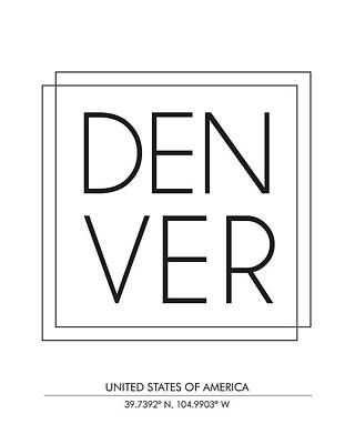 Print Mixed Media - Denver City Print With Coordinates by Studio Grafiikka
