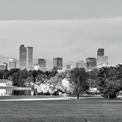 Photograph - Denver City Skyline In Black And White by Gregory Ballos