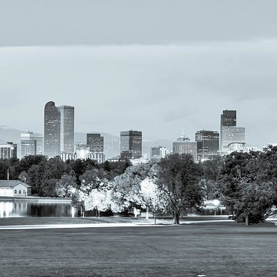 Photograph - Denver City Skyline In Black And White Tones by Gregory Ballos