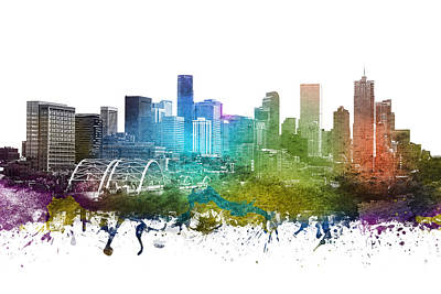 Rainbow Colors Drawing - Denver Cityscape 01 by Aged Pixel