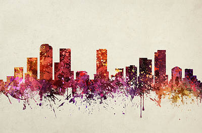 Skylines Drawings - Denver Cityscape 09 by Aged Pixel