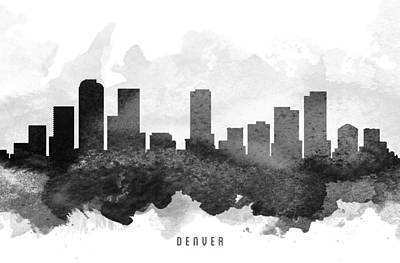 Denver Skyline Wall Art - Painting - Denver Cityscape 11 by Aged Pixel