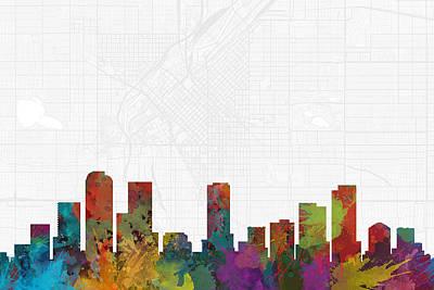 City Map Digital Art - Denver Cityscape And Streetmap Skyline by Jurq Studio