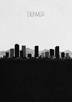 Denver Skyline Wall Art - Mixed Media - Denver Cityscape Art by Inspirowl Design