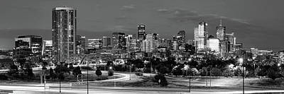 Photograph - Denver Co Dawn Bw Panorama by Gregory Ballos