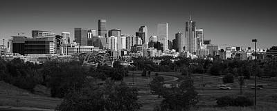 Denver Skyline Photograph - Denver Co Skyline B W by Steve Gadomski
