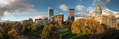 Denver, Colorado, Capitol Skyline Panoramic Art Print by Steve Mohlenkamp