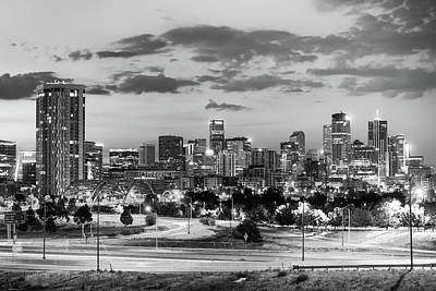 Photograph - Denver Colorado City Skyline At Dawn - Monochrome by Gregory Ballos