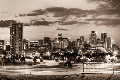 Photograph - Denver Colorado City Skyline At Dawn - Sepia by Gregory Ballos