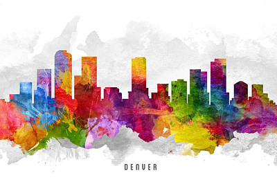 Denver Skyline Wall Art - Painting - Denver Colorado Cityscape 13 by Aged Pixel