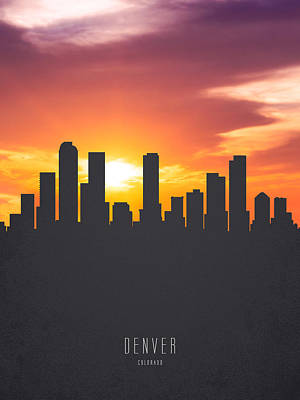 Sunset Digital Art - Denver Colorado Sunset Skyline 01 by Aged Pixel