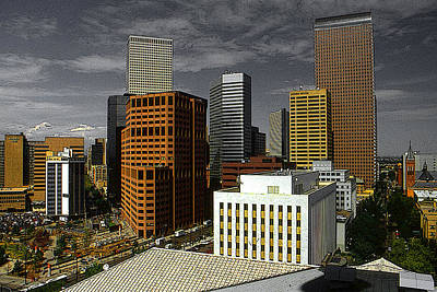 Painting - Denver Colorado Downtown Skyline by Peter Potter