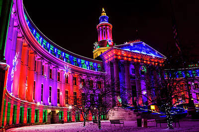 Photograph - Denver Colorado Holiday Lights by Teri Virbickis