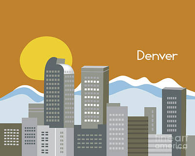 Denver Skyline Wall Art - Digital Art - Denver Colorado Horizontal Skyline Print by Karen Young