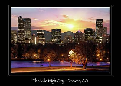 Photograph - Denver Colorado Mile High City Skyline Print by Gregory Ballos