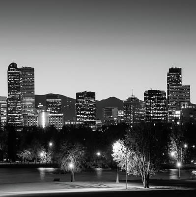 Photograph - Denver Colorado Monochrome Bw Mountain Skyline 1x1 by Gregory Ballos