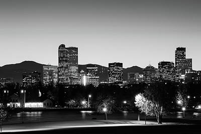 Photograph - Denver Colorado Monochrome Bw Mountain Skyline by Gregory Ballos