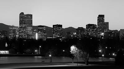 Photograph - Denver Colorado Mountain Skyline Black And White by Gregory Ballos