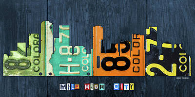 Denver Skyline Wall Art - Mixed Media - Denver Colorado Recycled Vintage License Plate Art City Skyline by Design Turnpike