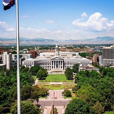 Photograph - Denver Colorado Rocky Mountain Landscape From The Capitol Building  by Gregory Ballos