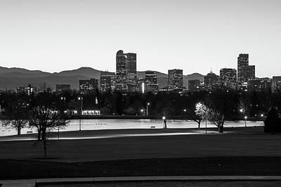 Photograph - Denver Colorado Skyline Before Sunrise -  Black And White - Usa by Gregory Ballos