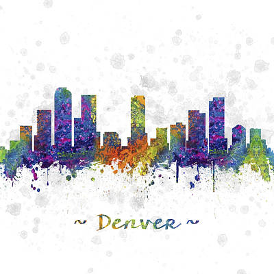 Usa Drawing - Denver Colorado Skyline Color 03sq by Aged Pixel