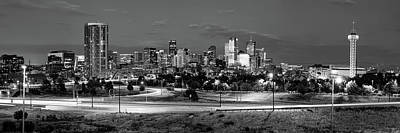Photograph - Denver Colorado Skyline Panorama Over The Speer Boulevard Bridge - Black And White by Gregory Ballos