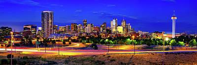 Photograph - Denver Colorado Skyline Panorama Over The Speer Boulevard Bridge by Gregory Ballos