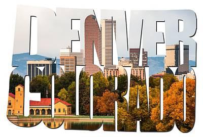 Photograph - Denver Colorado Skyline Typography -  Denver In The Fall by Gregory Ballos