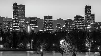 Black And White Photograph - Denver Colorado Skyline Wide Angle Black And White by Gregory Ballos