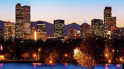 Photograph - Denver Colorado Skyline Wide Angle Color by Gregory Ballos