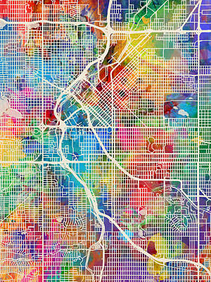 Denver Digital Art - Denver Colorado Street Map by Michael Tompsett