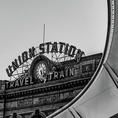 Photograph - Denver Colorado Union Train Station - Bw Square by Gregory Ballos
