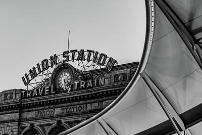 Photograph - Denver Colorado Union Train Station - Monochrome by Gregory Ballos
