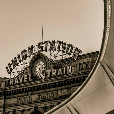 Photograph - Denver Colorado Union Train Station - Sepia Square by Gregory Ballos