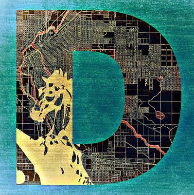 Denver Colorado With Map V1 Art Print