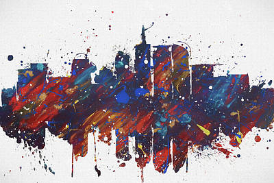 Painting - Denver Colorful Skyline by Dan Sproul