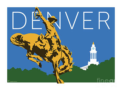 Digital Art - Denver Cowboy/dark Blue by Sam Brennan