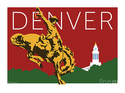 Digital Art - Denver Cowboy/maroon by Sam Brennan