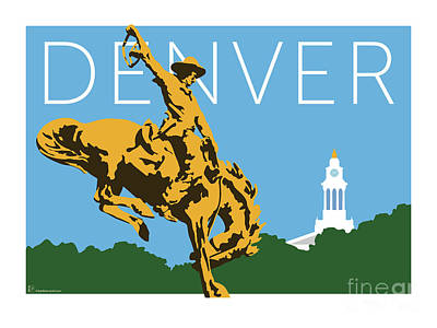 Digital Art - Denver Cowboy/sky Blue by Sam Brennan