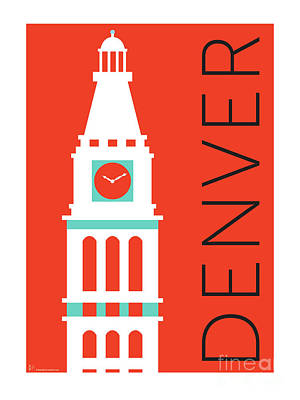 Digital Art - Denver D And F Tower/orange by Sam Brennan