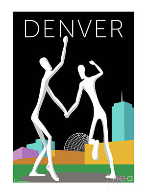 Digital Art - Denver Dancers/black by Sam Brennan