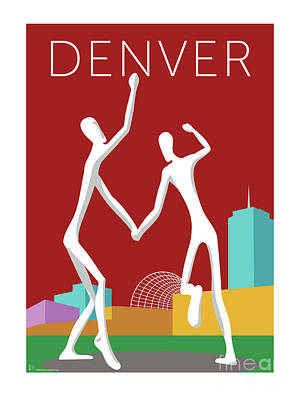 Digital Art - Denver Dancers/maroon by Sam Brennan