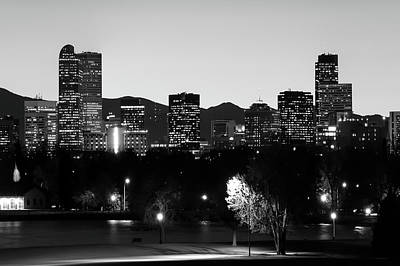 Photograph - Denver Downtown Skyline - Mile High City - Black White by Gregory Ballos