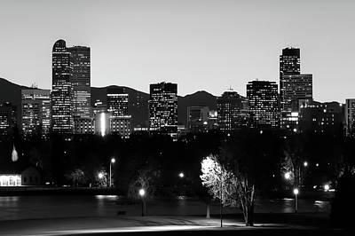 Denver Photograph - Denver Downtown Skyline - Mile High City - Black White by Gregory Ballos