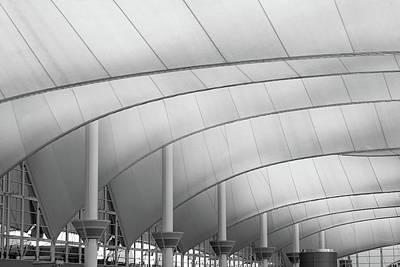 International Airport Photograph - Denver International Airport Roof B W by Steve Gadomski